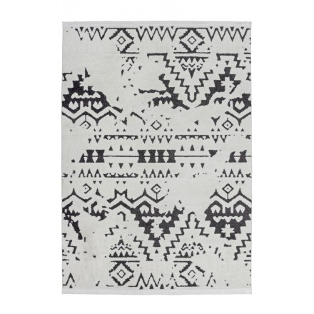 Carpet ethnic rectangular AGADIR woven machine (white black)
