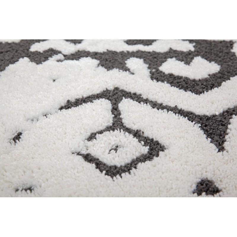 Tapis ethnique AGADIR rectangulaire tissé à la machine (Blanc Noir) - image 41288