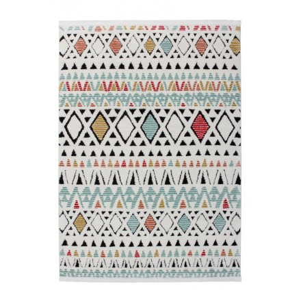 Tapis ethnique NADOR rectangulaire tissé à la machine (Blanc Multicolore)