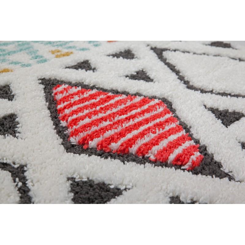 Tapis ethnique NADOR rectangulaire tissé à la machine (Blanc Multicolore) - image 41300
