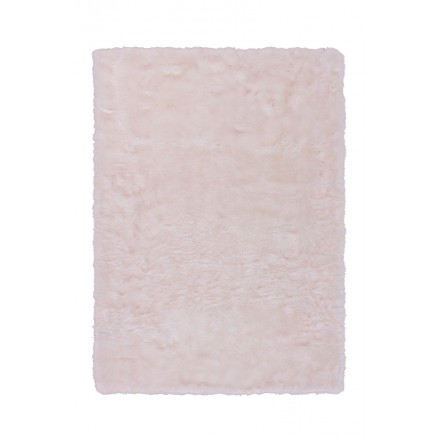 Tapis imitation mouton CHICAGO rectangulaire tufté à la main (Blanc Rosé)