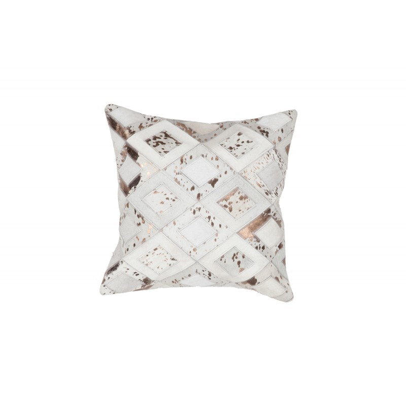 100% leather BOSTON square cushion handmade (bronze ivory) - image 41519