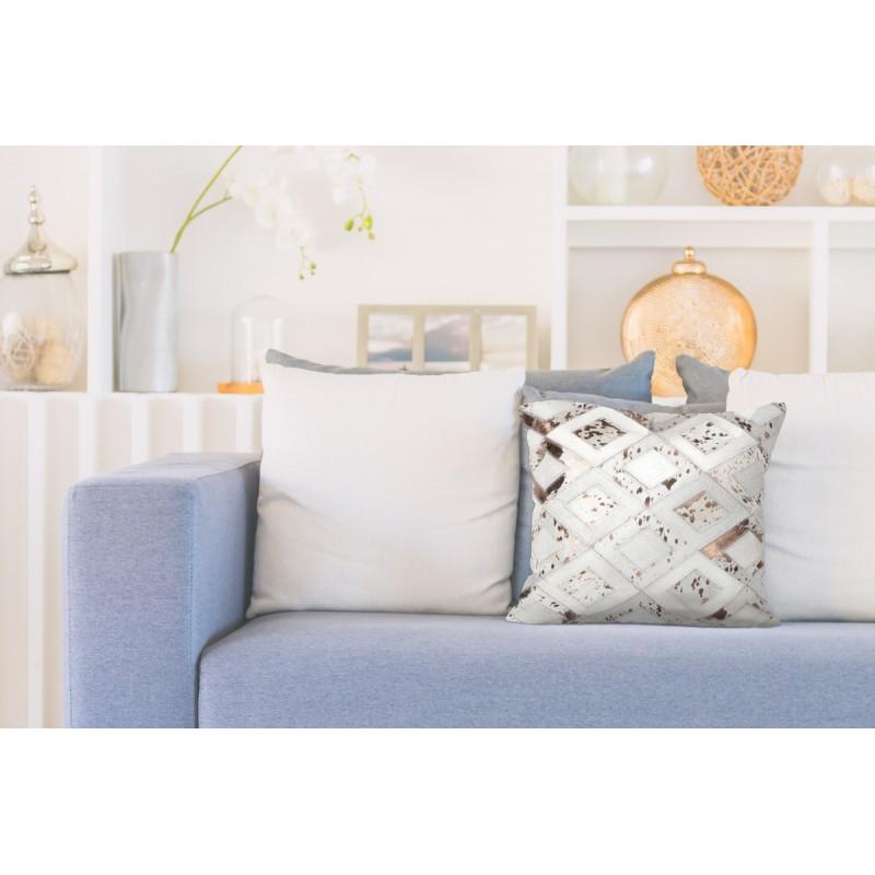 100% leather BOSTON square cushion handmade (bronze ivory) - image 41520
