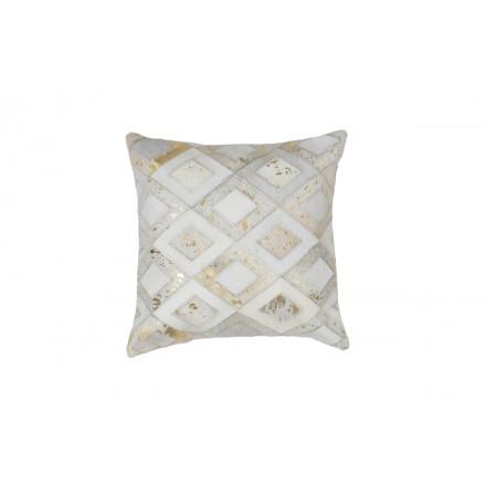 100% pelle BOSTON quadrato cuscino fatto a mano (avorio dorato)