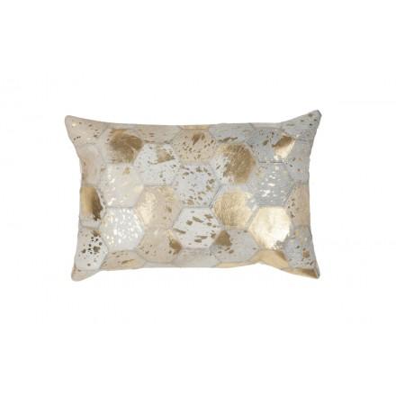 100% cuero DETROIT rectangular cojín hecho a mano (oro Marfil)