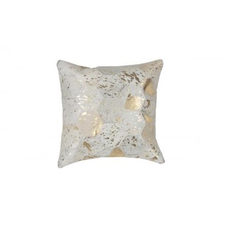 100% pelle DETROIT quadrato cuscino fatto a mano (avorio dorato)