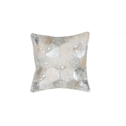 100% pelle DETROIT quadrato cuscino handmade (argento)