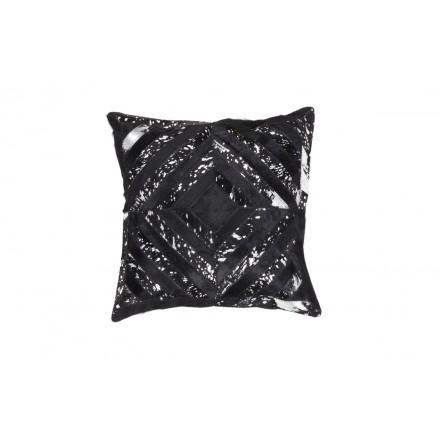 100% cuero ORLANDO Cojín cuadrado hecho a mano (negro gris)