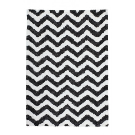Graphic rug rectangular BUDAPEST made hand (ivory-grey-black)