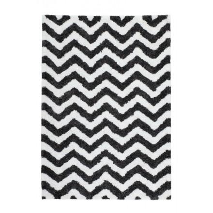 Grafischen Teppich rechteckig BUDAPEST hand gemacht (Elfenbein-grau-schwarz)