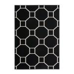 Graphic rug rectangular RAGUSA woven machine (black ivory)