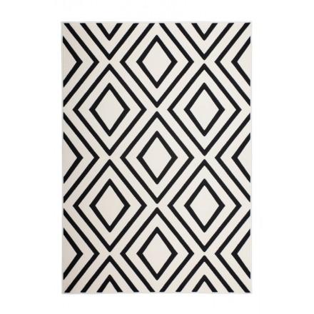 Rechteckige AUGUSTA Grafik Teppiche gewebt maschinell (Schwarz Elfenbein)