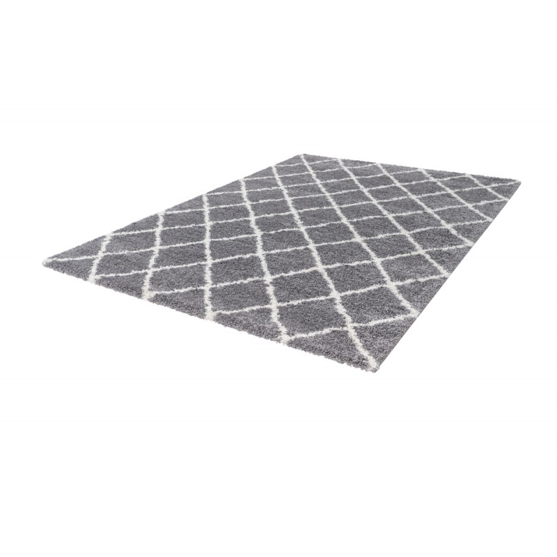 Tapis graphique GUINEE rectangulaire tissé à la machine (Gris) - image 41675