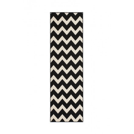 Graphic rug rectangular LICATA woven machine (black ivory)