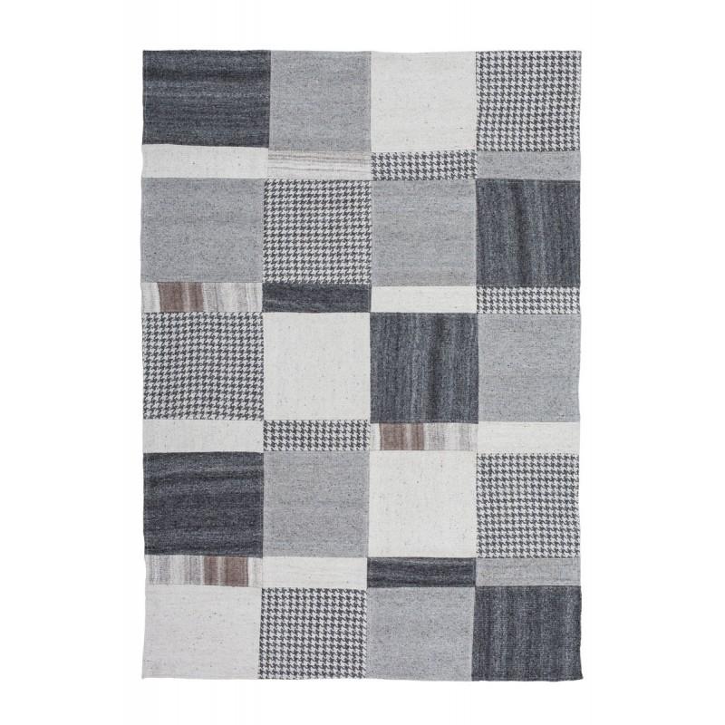 Tapis patchwork fait main VITTORIA rectangulaire fait main (Gris) - image 41720