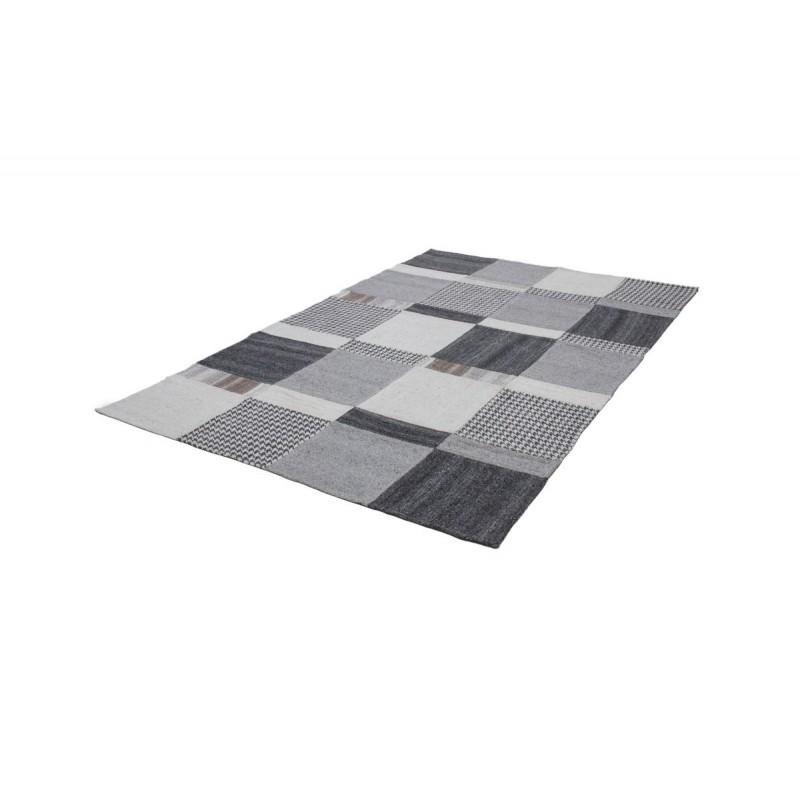 Tapis patchwork fait main VITTORIA rectangulaire fait main (Gris) - image 41723