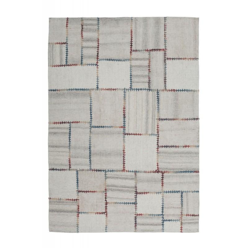 Tapis patchwork fait main COSIMO rectangulaire fait main (Beige)
