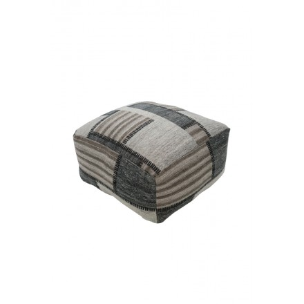 Poof patchwork AUSTIN Carré woven machine (Beige gray black)