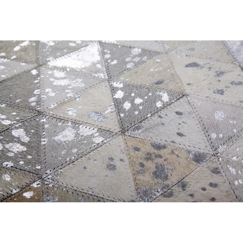 Tapis 100% cuir fait main TUCSON rectangulaire fait main (Gris  Beige) - image 41786