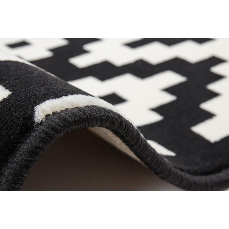 Tapis graphique TULSA rectangulaire tissé à la machine (Noir  Blanc) - image 41790