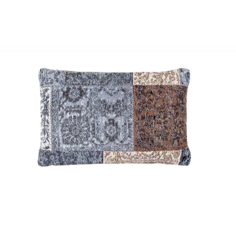 Coussin patchwork vintage SYMPHONIE rectangulaire fait main (Bleu Marron) - image 41796