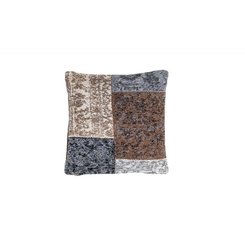 Coussin patchwork vintage SYMPHONIE Carré fait main (Bleu Marron)