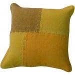 Coussin patchwork vintage LYRICAL Carré fait main (Jaune vert)