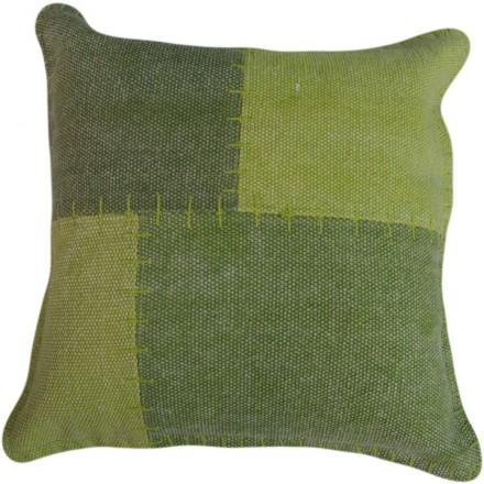 Cojín cuadrado lírica del remiendo de la vendimia a mano (verde)