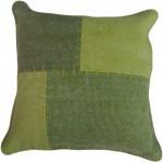 Coussin patchwork vintage LYRICAL Carré fait main (Vert)