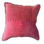 Coussin patchwork vintage LYRICAL Carré fait main (Rouge)