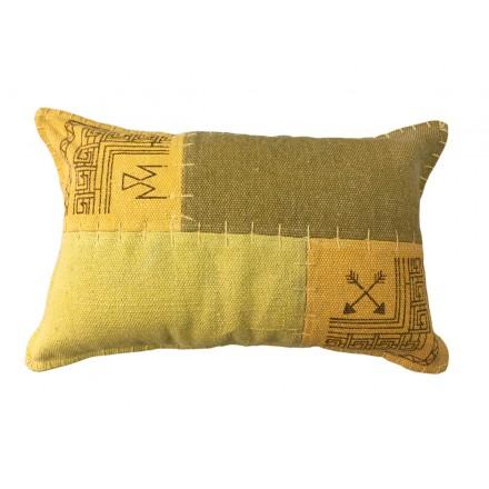 Vintage patchwork rectangular de FINCA cojín hecho a mano (verde amarillo)