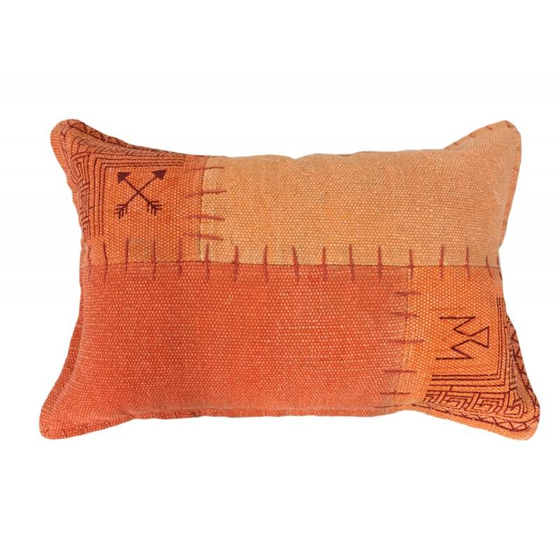 Coussin patchwork vintage FINCA rectangulaire fait main (Orange)