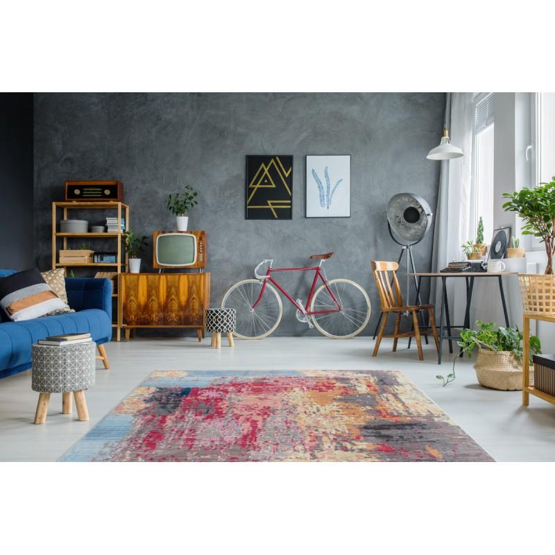 Tapis vintage HONOLULU rectangulaire tissé à la machine (Multicolore) - image 41859