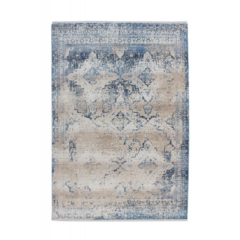 Tapis vintage KANSAS rectangulaire tissé à la machine (Crème Bleu) - image 41862