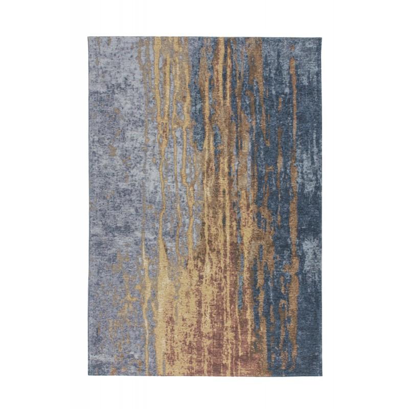 Tapis vintage FOUZE rectangulaire tissé à la machine (Beige Bleu) - image 41878