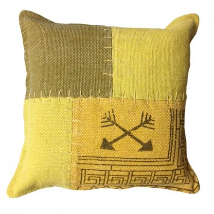 Vintage patchwork quadrati FINCA cuscino fatto a mano (giallo verde)
