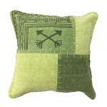 Coussin patchwork vintage FINCA Carré fait main (Vert)