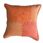 Coussin patchwork vintage FINCA Carré fait main (Orange)