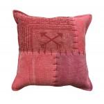 Coussin patchwork vintage FINCA Carré fait main (Rouge)