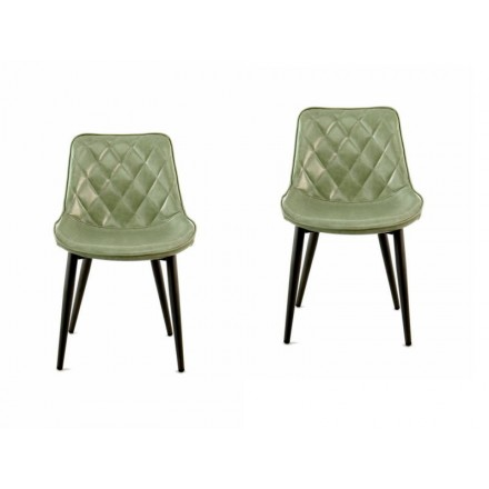 Set of 2 retro chairs padded EUGENIE (green)