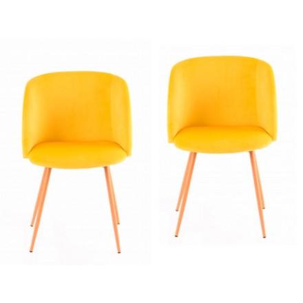 Lot de 2 chaises en velours scandinave LISY (Jaune)
