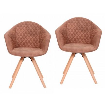 Conjunto de 2 sillas acojinadas MADISON escandinavo (marrón)