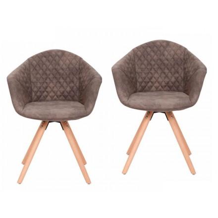 Conjunto de 2 sillas acojinadas MADISON escandinavo (gris oscuro)