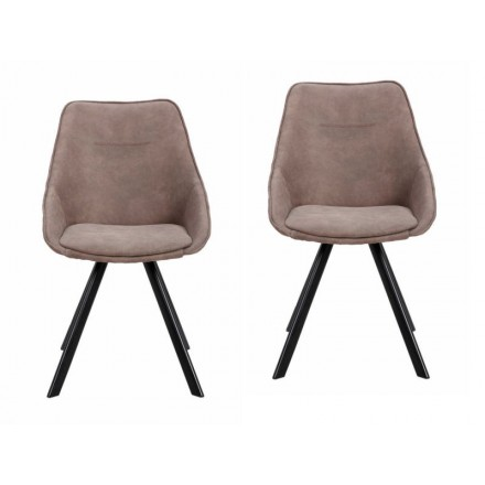 Lot de 2 chaises en tissu scandinave LAURINE (Marron)