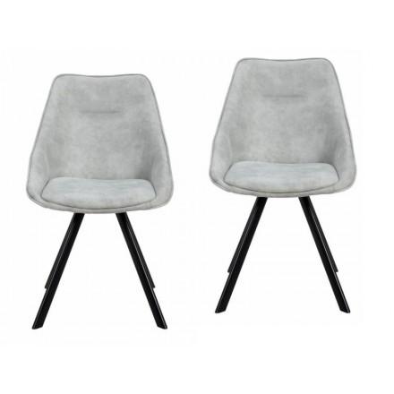 Conjunto de 2 sillas en tela LAURINE escandinavo (gris claro)