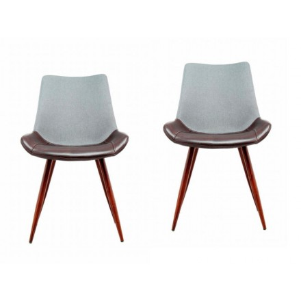 Lot de 2 chaises vintage NELLY (Gris marron foncé)