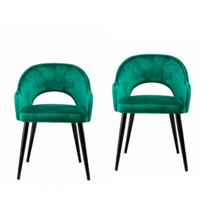 Lot de 2 chaises en tissu avec accoudoirs LEXANE (Vert)