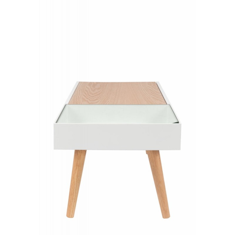 Table basse scandinave en bois MAITHE (Blanc, Naturel) - image 42244