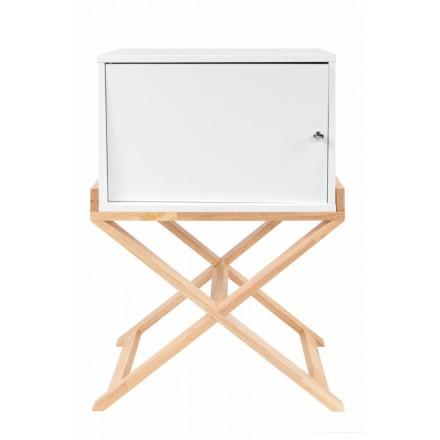 Meuble de rangement table de nuit 1 porte scandinave MAITHE (Blanc, Naturel)
