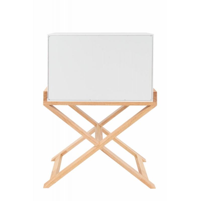 Meuble de rangement table de nuit 2 tiroirs scandinave MAITHE (Blanc, Naturel) - image 42254